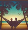 couple in love at beach on hammock background vector image vector image