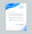 creative blue wave letterhead design vector image vector image