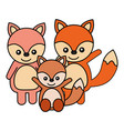 cute family foxes animals cartoon vector image
