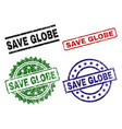 damaged textured save globe stamp seals vector image vector image