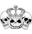draw in black and white halloween skull with vector image vector image