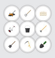 flat dacha set of pail grass-cutter cutter and vector image vector image
