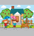 front house scene with two kids holding vector image