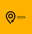geotag with arrow or location pin logo icon design vector image