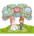 girl and boy clouple marriage with trees and heart vector image vector image