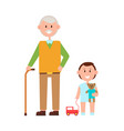 grandfather grandson banner vector image vector image