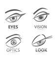 Graphic robot woman digital look eyes set vector image vector image