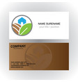 home organic green logo business card vector image vector image