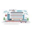 hospital clinic or medical center building with vector image vector image