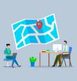logistics map with navigation symbol operator vector image