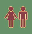 male and female sign cordovan icon and vector image vector image