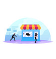 masked looters breaking store showcase aggressive vector image vector image