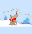 merry christmas design card with deer and bird vector image