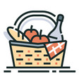 picnic basket line color icon vector image