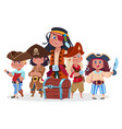 pirates kids team and treasure chest vector image vector image