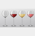 realistic wine glasses different wine types red vector image