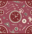 seamless patterns clock vector image vector image