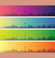 seattle multiple color gradient skyline banner vector image vector image