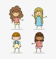 set children with clothes and hairstyle design vector image