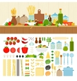 Set for cooking pasta at home vector image vector image