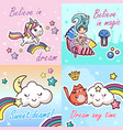 Set kawaii cartoon lettering girlish card template