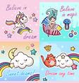 set kawaii cartoon lettering girlish card template vector image