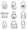 set nine hand drawn padlocks vector image vector image