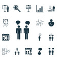 set of 16 executive icons includes decision vector image