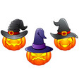 set of halloween pumpkins cartoon vector image vector image