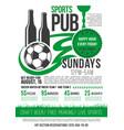 soccer sports bar football pub menu design vector image