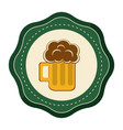 sticker foam beer glass drink celebration vector image