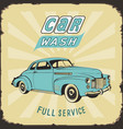 vintage metal sign car wash color vector image vector image