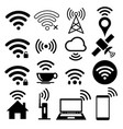 wifi icon set on white background vector image vector image