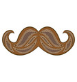 zen tangle mustache zentangle brown whisker vector image