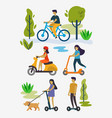people outdoor in the park on weekend vector image