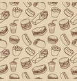 seamless pattern with fast food pattern design vector image