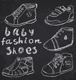 Baby fashion shoes set sketch handdrawn on vector image