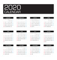 2020 year calendar template vector image