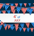 4th july banner with flags vector image vector image