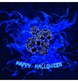 Abstract blue background with skulls and the words vector image