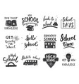 back to school calligraphic letterings set vector image