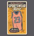 basketball sport sportswear store vector image vector image