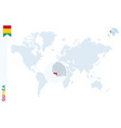 blue world map with magnifying on guinea vector image vector image