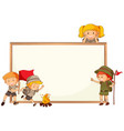 boy and girl scout and whiteboard frame vector image vector image