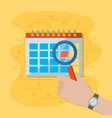calendar and magnifying glass vector image
