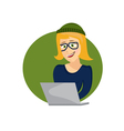cartoon young hipster woman with laptop vector image vector image