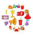 cinema icons set cartoon style vector image vector image