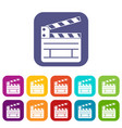 clapperboard icons set vector image vector image