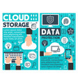 cloud storage information technology posters vector image vector image