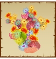Colourful bush corals and polyps single object vector image vector image